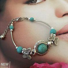 Bracelet Tibetan bracelet silver turquoise inlay butterfly bead adjust bangle jewelry new Jewelry Bracelets