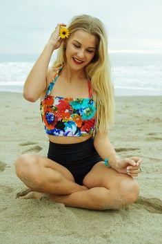 Boss Bikini. Beverly Swimwear. Monokini top. High waist bottoms. Retro summer style. Modest swimsuit. Vintage two piece swimwear. Floral and black. Summer 2015 collection