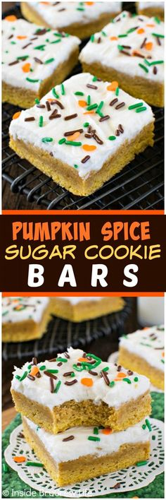 Pumpkin Spice Sugar Cookie Bars - these easy bar cookies have a sweet pumpkin taste and a creamy frosting. Fall Dessert Recipes, Fall Desserts, Just Desserts, Fall Recipes, Delicious Desserts, Layered Desserts, Cheap Recipes, Cheap Meals, Yummy Food