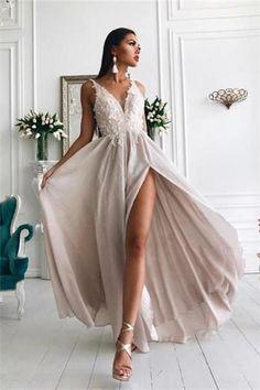 Simple V Neck Lace Chiffon Long Prom Dress