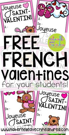 FREE French Valentines | French Valentine's Day Cards | GRATUIT | Cartes pour la Saint-Valentin