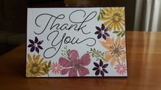 Thank You card, Stampin Up Blooms & Bliss and So Very Much stamp sets, pearl embellishments