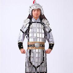 Chinese soldier uniform China Commander Hanfu General Costume  Silver helmet armor Film Ancient Costume cosplay  leader Dressing