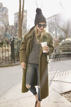 She x Fashionista Style Outfits, Fall Outfits, Casual Outfits, Fashion Outfits, Womens Fashion, Mode Style, Style Me, Green Coat, Street Style