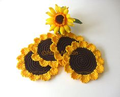 Crochet Coasters Daisies . Brown Yellow Flowers by MariMartin, $26.00