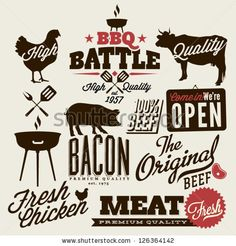Vintage Bbq Grill Elements, Typographical Design Stock Vector 126364142 : Shutterstock