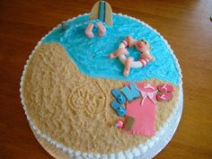 love this beach themed shower cake