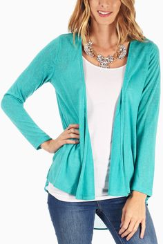 Aqua-Chiffon-Accent-Open-Back-Cardigan #outfitinspiration #fallclothes