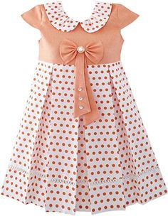 JT41 Girls Dress Polka Dot School Bow Tie Pearl Cap Sleeve Size 4