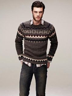 Men's Brown Fair Isle Crew-neck Sweater, Brown Plaid Long Sleeve Shirt, Charcoal…