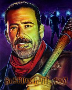 """Acrylic painting of """"Negan"""" on canvas by Scott Spillman. You can check out more of his work and merchandise at www.bleedingart.com"""