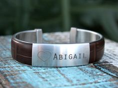 Valentines Day Gift Engraved Bracelet Engraved Cuff by linksofhope, $50.00