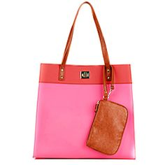 @Overstock - Chic and playful, this colorful tote by Danielle Nicole features pretty tri-tone color palette and faux leather construction. With double shoulder straps and a spacious main compartment, this bag is finished with a classic turn-lock closure.http://www.overstock.com/Clothing-Shoes/Danielle-Nicole-Coral-Spring-Jelly-Tote-Bag/6706588/product.html?CID=214117 $74.99
