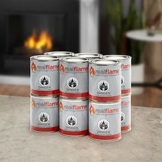 Experience a real fire in your backyard with these Real Flame gel fuel cans. Made from isopropyl alcohol and steel, these can burn for up to three hours each wh Diy Fire Pit, Fire Pit Backyard, Backyard Gates, Fire Pit Parts, Gel Fireplace, Tabletop Fire Bowl, Outside Fire Pits, Glass Fire Pit, Diy Table Top