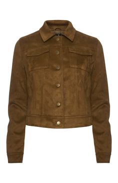 Tan Suedette Trucker Jacket
