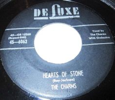 """1954 Doo Wop 45 Rpm The Charms HEARTS OF STONE / WHO KNOWS On Deluxe 6062.. A Cincinnati vocal group, the Charms landed a number-one R&B hit for almost ten weeks in 1954 with """"Hearts of Stone,"""" a song that remains among the most enduring doo wop anthems. Otis Williams, Richard Parker, Donald Peak, Joe Penn, and Rolland Bradley first recorded for Rockin' in 1953, but did """"Hearts of Stone"""" for Deluxe the next year."""