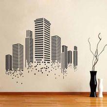 Edificios horizonte de la ciudad pegatinas de pared del vinilo Home Decor Wall Mural arte de la pared decoración de papel(China (Mainland))