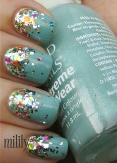 Rainbow Glitter Nails..this would be cute as an accent nail.
