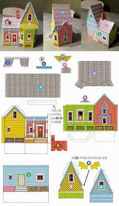 Up House Printable Template Up House Pixar, Up Pixar, Disney Up House, Up Movie House, Disney Movie Up, Up Carl Y Ellie, House Template, Up Theme, Putz Houses