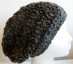 Brown Slouchy Brown Crocheted Slouchy Hat Hand by GalianoCrochet