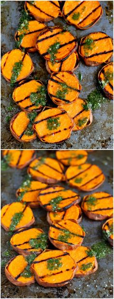 Grilled Sweet Potatoes with Cilantro Vinaigrette...117 calories and 3 Weight Watchers PP | cookincanuck.com #recipe #vegan
