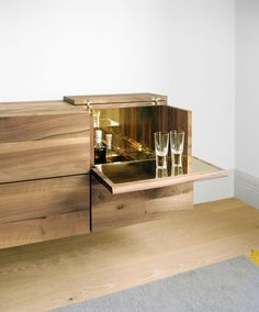 Philipp Mainzer. Beautiful timber credenza. Sideboard. Bar. Brass. Glass. Martini.