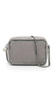 67871ae9a3d Stella McCartney faux leather Falabella clutch with chain strap, chain on  the hems and zip closure. Logo zip puller, logo twill lining and inside  pocket.