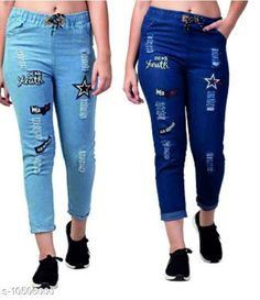 Checkout this latest Jeans Product Name: *Martin Joggers Fit Women Denim Combo Blue Jeans For Girls(Pack of 2)* Fabric: Denim Surface Styling: Embroidery Multipack: 2 Sizes: 28, 30 Country of Origin: India Easy Returns Available In Case Of Any Issue   Catalog Rating: ★3.9 (1993)  Catalog Name: Pretty Sensational Women Jeans CatalogID_1918415 C79-SC1032 Code: 654-10506000-8511