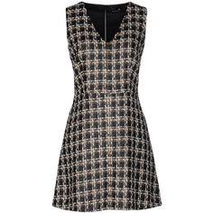 Compagnia Italiana Short Dress ($145) ❤ liked on Polyvore featuring dresses, dark brown, tweed dress, sleeveless dress, dark brown dress, tent dress and pocket dress
