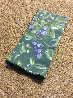 Bramble Berry Laura Ashley Four Napkin Cloth Green White Floral Berries  #LauraAshley