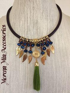 Cascada collar verde borlas y cristales collar azul hoja