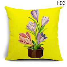 Fancyqbue Flower Pot Printed Cushion Cover