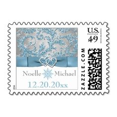 Winter Wonderland, Joined Hearts Wedding Postage Stamps