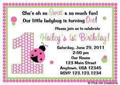 Sweet Ladybug Pink  Birthday Party Invitations - Printable DIGITAL FILE