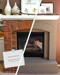 brick fireplace makeover : this would be a way cheaper solution that redoing the whole thing