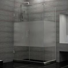 DreamLine, Unidoor Plus 30-3/8 in. x 31-1/2 in. x 72 in. Hinge Shower Enclosure with Half Frosted Glass Door in Brushed Nickel, SHEN-24315300-HFR-04 at The Home Depot - Mobile