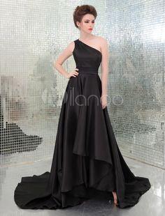 Black Aimee Teegarden One-Shoulder High Low Backless Emmy Awards Dress - Milanoo.com