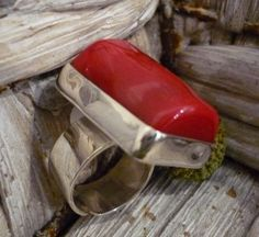 Sterling silver rectangle ring with red coral by ArgentTonic, $110.00