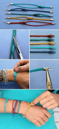 Turn colorful zippers into sweet little bangles! Click through for the how-to.: