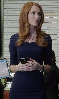 Abby's navy blue split neck dress on Scandal.  Outfit Details: http://wornontv.net/38106/ #Scandal