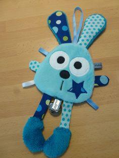 Doudou attache tétine lapin bleu - bleu marine