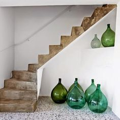 Demijohns clustered alongside a concrete stair in a vacation house on the border of Switzerland and Italy, discovered via Marie Claire Maison Decor, House Design, Interior Inspiration, House Styles, Home Decor, House Interior, Home Deco, Interior Design, Stairs