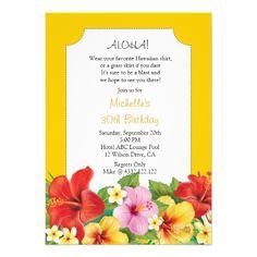 Hibiscus and Plumeria Luau Birthday Party Announcement