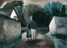 William Scott, Lovers in a Village Lane - Ruabon, 1945, Watercolour on paper, 27 x 38 cm / 10¾ x 15 in, Private collection