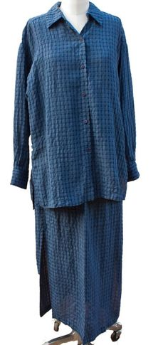 Eileen Fisher Small Tunic Blouse and Skirt lightweight seersucker material #EileenFisher #SkirtSuit