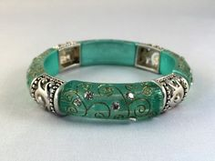 Bracelet Stretch Acrylic Turquoise Green with Clear Crystals and Silver Tone B76