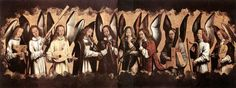 Five Angels Playing Musical Instruments, left hand panel from a triptych from the Church of Santa Maria la Real, Najera, 1487-1490 - Hans Memling