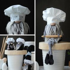 FAMILY Farmhouse Gnome with Black Hat. Gnome with Gray Beard. *Includes Gnome Only Etsy Christmas, Christmas Gnome, Christmas Crafts, Christmas Decorations, Kitchen Decorations, Mini Kitchen, Bakers Kitchen, Gnome Tutorial, Sewing Projects
