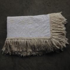 Bedcover Applique With Tassels - White