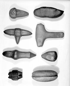 Skara Brae Finds Photograph: Stone artefacts, included carved stone objects, cleaver and beaked tool.